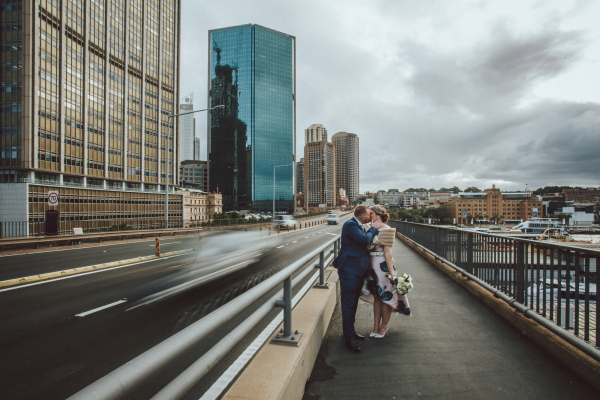 Wedding couple on Cahill Expressway